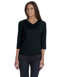 Black Women's Combed Ringspun Jersey V-Neck 3/4-Sleeve T-Shirt
