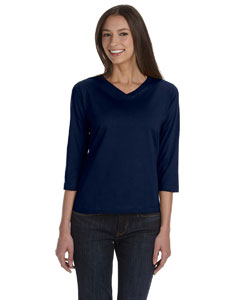 Navy Women's Combed Ringspun Jersey V-Neck 3/4-Sleeve T-Shirt