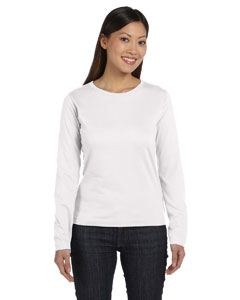 White Women's Combed Ringspun Jersey Long-Sleeve T-Shirt