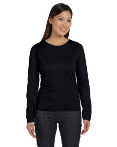Black Women's Combed Ringspun Jersey Long-Sleeve T-Shirt