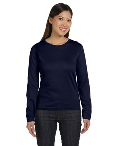 Navy Women's Combed Ringspun Jersey Long-Sleeve T-Shirt