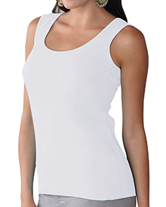 White Women's Scoop Neck Jersey Tank