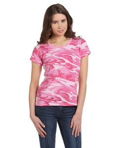 Pink Woodland Women's Fine Jersey Camouflage T-Shirt