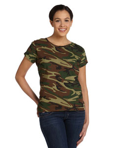 Green Woodland Women's Fine Jersey Camouflage T-Shirt