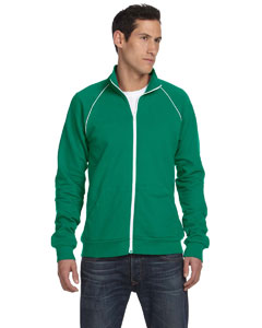 Kelly/white Men's Piped Fleece Jacket