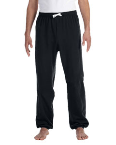 Black Unisex Fleece Long Scrunch Pant