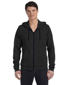 Dk Gry Hthr/blck Unisex Poly-Cotton Fleece Full-Zip Hoodie