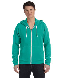 Teal Unisex Poly-Cotton Fleece Full-Zip Hoodie