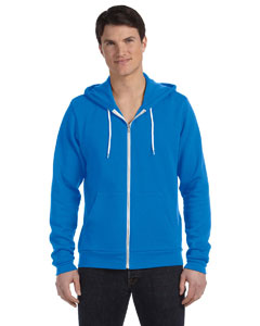 Neon Blue Unisex Poly-Cotton Fleece Full-Zip Hoodie
