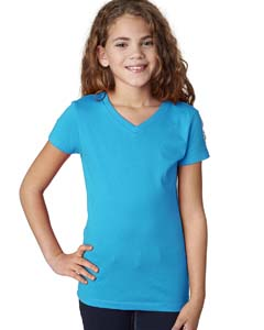 Turquoise Girls' Adorable V-Neck Tee