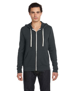 Solid Black Trblnd Unisex Triblend Sponge Fleece Full-Zip Hoodie