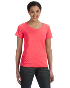 Coral Women's Sheer Combed Ringspun Scoop T-Shirt