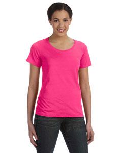 Hot Pink Women's Sheer Combed Ringspun Scoop T-Shirt