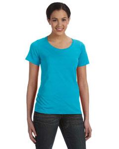 Carribean Blue Women's Sheer Combed Ringspun Scoop T-Shirt