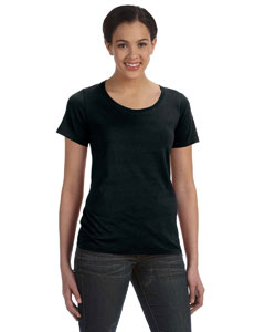 Black Women's Sheer Combed Ringspun Scoop T-Shirt