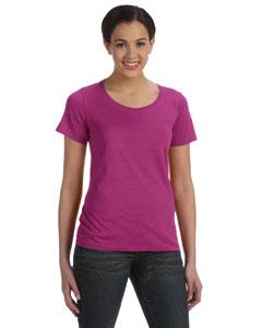 Raspberry Women's Sheer Combed Ringspun Scoop T-Shirt