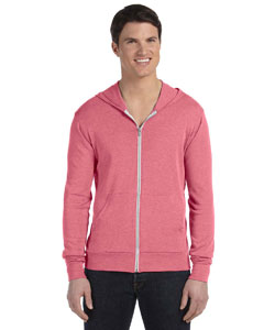 Light Red Triblend Unisex Triblend Full-Zip Lightweight Hoodie