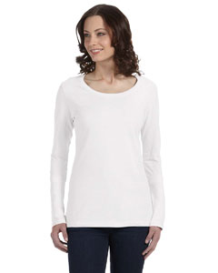 White Women's Sheer Combed Ringspun Long-Sleeve Scoop Neck T-Shirt