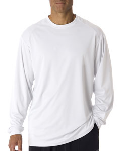 White Adult B-Core Long-Sleeve Performance Tee