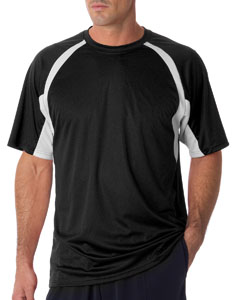 Black/ White Adult Short-Sleeve 2-Tone Hook Tee