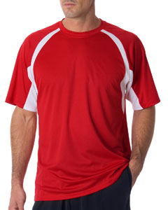 Red/ White Adult Short-Sleeve 2-Tone Hook Tee