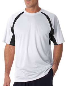 White/ Black Adult Short-Sleeve 2-Tone Hook Tee