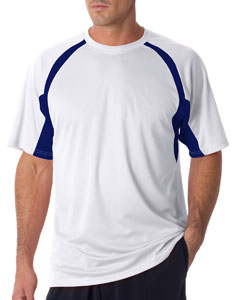 White/ Navy Adult Short-Sleeve 2-Tone Hook Tee