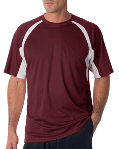 Maroon/ White Adult Short-Sleeve 2-Tone Hook Tee