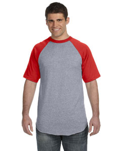 Athletic Heather/red 50/50 Short-Sleeve Raglan T-Shirt