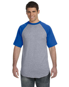 Athletic Heather/royal 50/50 Short-Sleeve Raglan T-Shirt