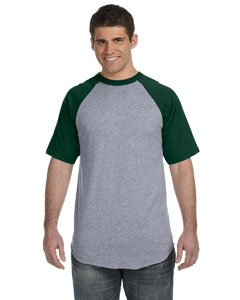 Athletic Hthr/dk Green 50/50 Short-Sleeve Raglan T-Shirt