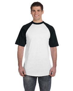 White/black 50/50 Short-Sleeve Raglan T-Shirt