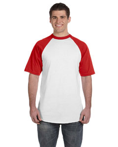 White/red 50/50 Short-Sleeve Raglan T-Shirt