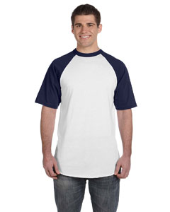 White/navy 50/50 Short-Sleeve Raglan T-Shirt