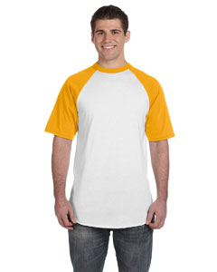 White/gold 50/50 Short-Sleeve Raglan T-Shirt