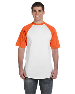 White/orange 50/50 Short-Sleeve Raglan T-Shirt