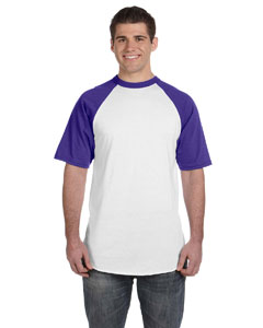 White/purple 50/50 Short-Sleeve Raglan T-Shirt