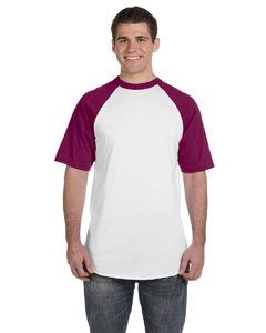 White/maroon 50/50 Short-Sleeve Raglan T-Shirt