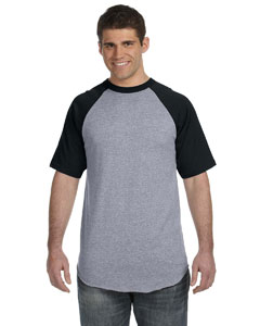 Athletic Heather/black 50/50 Short-Sleeve Raglan T-Shirt
