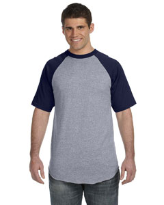Athletic Heather/navy 50/50 Short-Sleeve Raglan T-Shirt