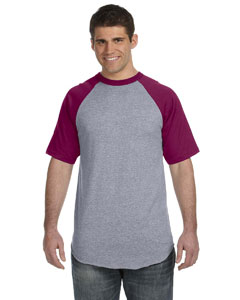 Athletic Hthr/maroon 50/50 Short-Sleeve Raglan T-Shirt