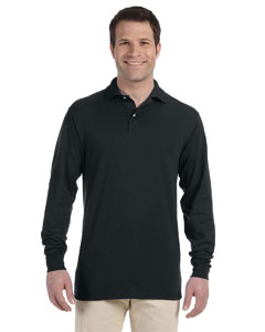 Black 5.6 oz., 50/50 Long-Sleeve Jersey Polo with SpotShield™
