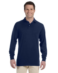 J Navy 5.6 oz., 50/50 Long-Sleeve Jersey Polo with SpotShield™