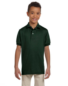 Forest Green Youth 5.6 oz., 50/50 Jersey Polo with SpotShield™