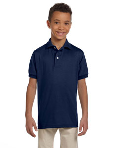 J Navy Youth 5.6 oz., 50/50 Jersey Polo with SpotShield™