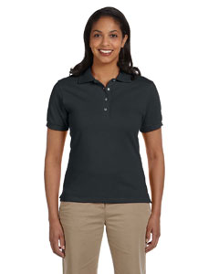 Black Women's 6.5 oz. Cotton Piqué Polo