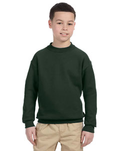 Forest Green Youth 9.5 oz., 50/50 Super Sweats® NuBlend® Fleece Crew