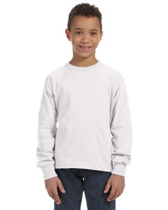 White Youth 5 oz., 100% Heavy Cotton HD® Long-Sleeve T-Shirt