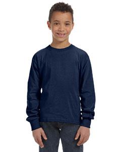 J Navy Youth 5 oz., 100% Heavy Cotton HD® Long-Sleeve T-Shirt