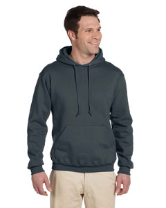 Black Heather 9.5 oz., 50/50 Super Sweats® NuBlend® Fleece Pullover Hood